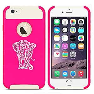 Apple iPhone 5 5s Shockproof Impact Hard Case Cover Tribal Elephant (Hot Pink-White)