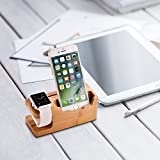 Amir Bamboo Wood USB Charging Station With 3 USB Ports 3.0 Hub for iPhone 7/7Plus/6s/6/Plus/5s, iWatch 38mm/42mm, Samsung & Most Smartphones