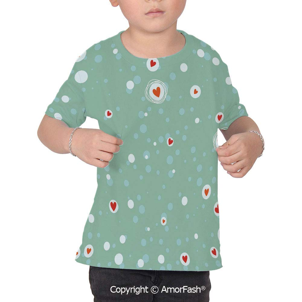 PUTIEN Aqua Decor Childrens Short Sleeve Cool T-Shirt,Polyester,Sketchy Circles with H