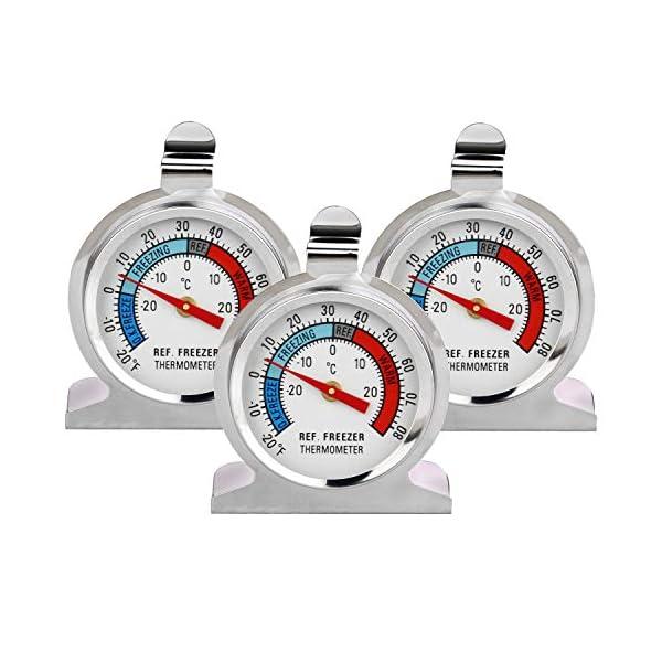 Thlevel Termometro da Frigo in Acciaio INOX Termometro per Congelatore e Frigorifero con Gancio per Appendere per Casa… 1