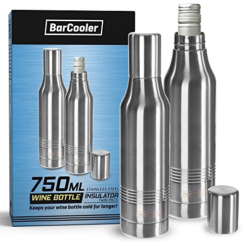 Stainless Steel White Wine Bottle Cooler Insulator. Double Wall Stainless Steel Holder. Includes bonus E-Book + Gift Box (Twin Pack) by BarCooler