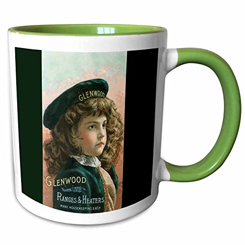 3dRose BLN Vintage Trade Cards Featuring Children - Glenwood Ranges and Heaters Pretty Girl in a Green Beret - 15oz Two-Tone Green Mug - Glenwood Range