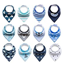 Baby Rarity Bandana Drool Bibs Absorbent Organic Soft Cotton Drool Bib for Teething Toddlers Infants Babies With Adjustable Snaps,8/12/16/20-Pack