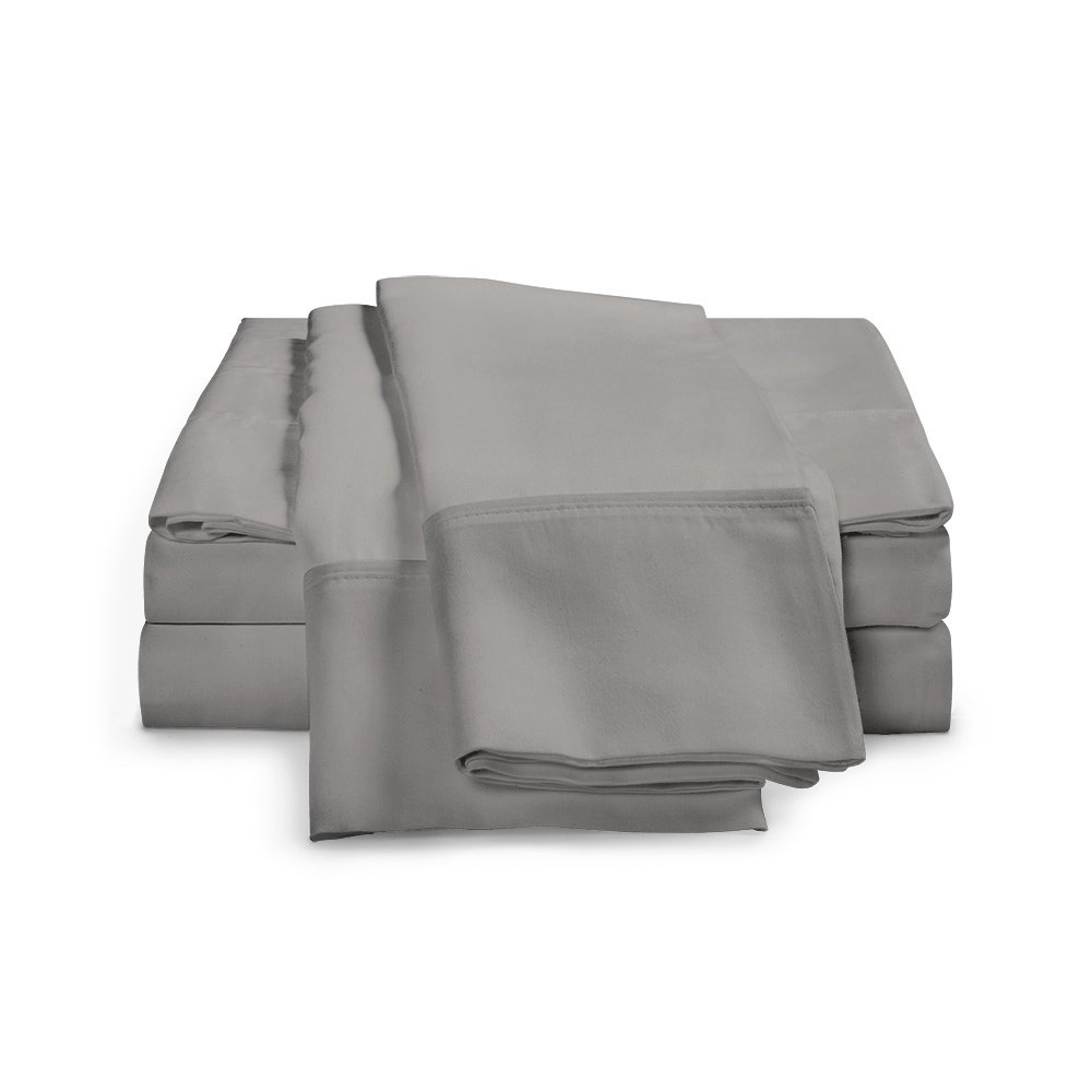 100% Egyptian Cotton Sheet Set - 1200 Thread Count | Hotel Luxury Single Ply - Sateen Weave | Set Includes One Flat Sheet, One Fitted Sheet & Two Pillowcases, Queen, Charcoal