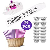 Best Bachelorette Party Supplies Kit, Straws Favors - Hen Party Supplies Decorations - Sash, Tiara, Party Straws and Wedding Photo Booth Prop Glasses