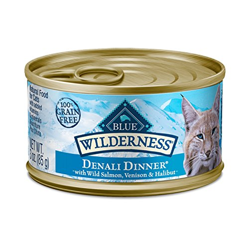 Blue Buffalo Wilderness Denali Dinner With Wild Salmon, Venison & Halibut Grain-Free Canned Cat Food, 3Oz, Case Of 24 ()