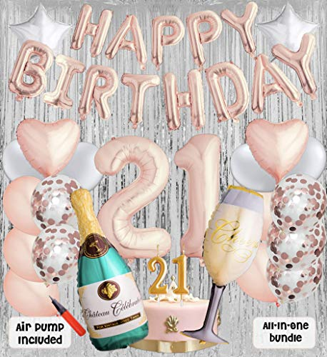 21st Birthday Party Balloons and Decoration Bundle - 43 Pieces Party Supplies and Balloons All in One Set - Rose Gold Happy Birthday Balloons, 21 Number Balloons, Air Pump ()