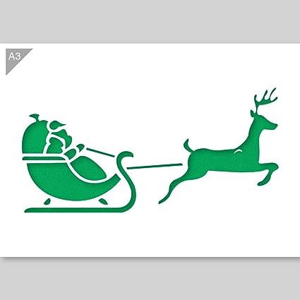 Pochoir Pere Noel.Père Noël Traîneau En Carton A3 Pochoir 42 X 29 7 Cm Amazon
