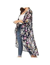 HTDBKDBK Kimono Cardigan for Women Summer Casual Print Long Cover Up Smock Tops Beach Swimwear Cardigan
