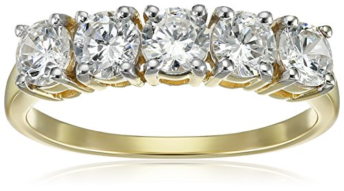 10K Yellow Gold 5 Stone Ring Made with Swarovski Zirconia (1 cttw), Size 7