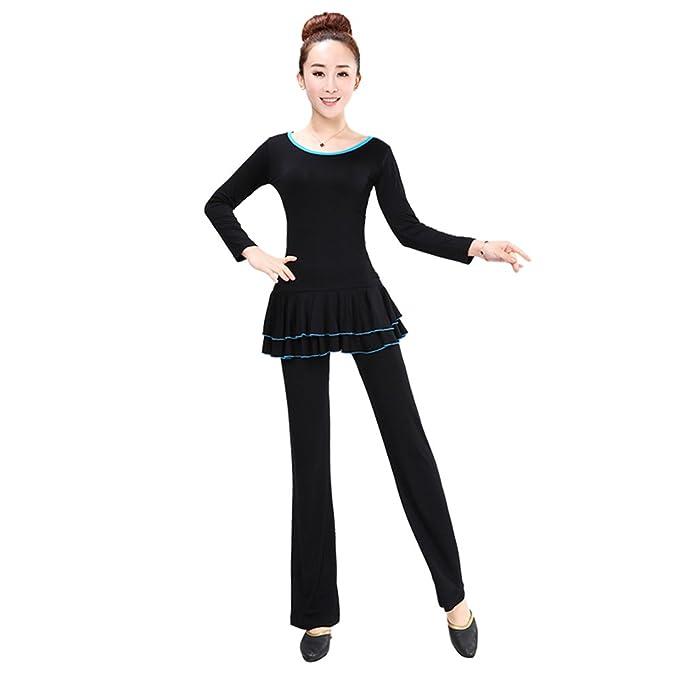 BOZEVON 3 Piezas de Ropa de Baile de Cuello Redondo de Manga Larga para  Mujeres Adultas 39dc1103839b