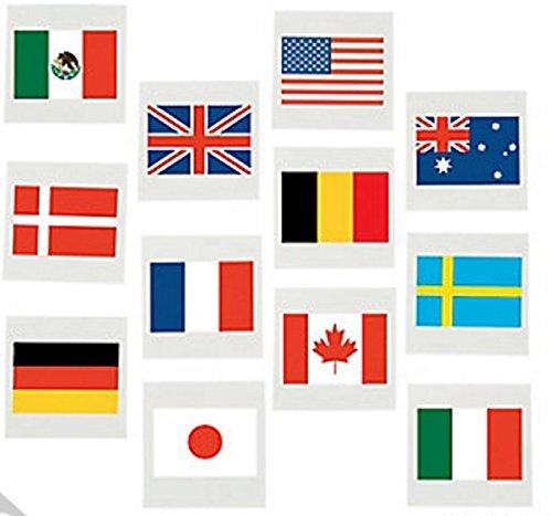 International Flag Tattoos, World Flags Temporary Tattoos, 72 Count
