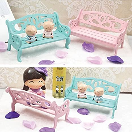 GREATLOVE 1Pcs Girl Mini Pattern Pink and Light Blue Wooden Bench Toy Doll Accessories Decor Blue