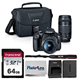 Canon EOS Rebel T7 Digital SLR Camera Body + EF-S 18-55mm f/3.5-5.6 IS II + EF 75-300mm f/4-5.6 III Lens + EOS Shoulder Bag + Transcend 64GB SD Memory Card + P4L Cleaning Cloth - Ultimate Canon Bundle