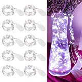 [10-Pack] LED String Lights, 6.6FT LED Moon Lights 20 Led Micro Lights On Silver Copper Wire (Batteries Include) for DIY Wedding Centerpiece, Table Decoration, Party (Cool White)