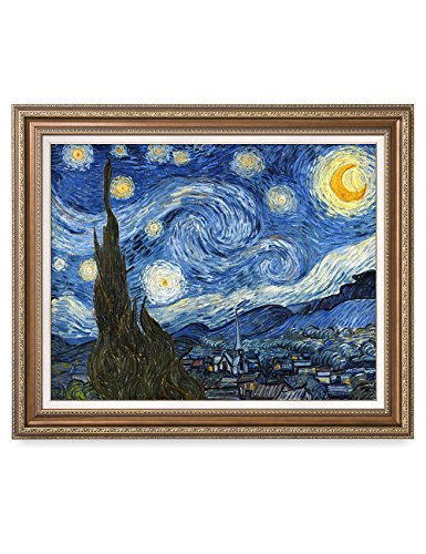 DecorArts - Starry Night, Vincent Van Gogh Art Reproduction. Giclee Print w/ Bronze Frame&Mat for Wall Decor. Picture Size: 30x24