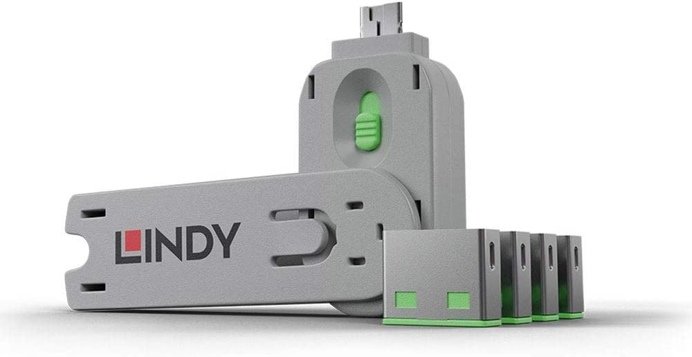 Lindy USB Port Blocker - Pack of 4, Green (40451)