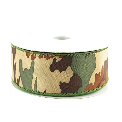 Camouflage Green Ribbon Wired Edge, 10-yard,