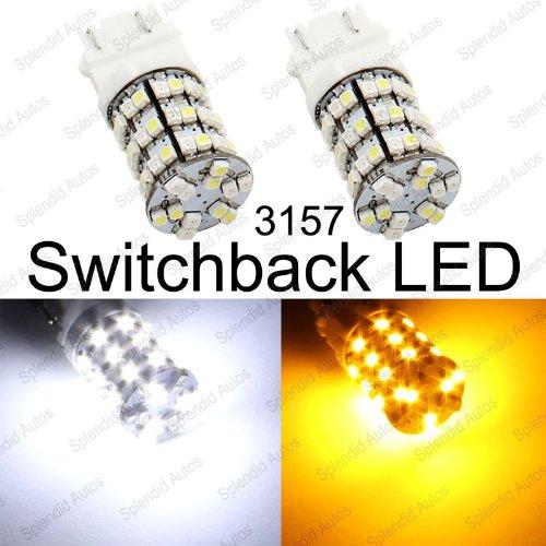 Splendid Autos 3157 3457 3057 Switchback LED 60-SMD Turn Signal Light Bulbs + Resistors (2 Pieces) (2 Piece T10 Bulbs)