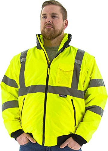 Majestic Glove 75-1381 PU Coated Polyester High Visibility Transformer 8 in 1 Bomber Jacket, Medium, Yellow