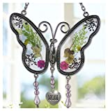 Mom Butterfly Mother Suncatcher with Pressed Flower Wings - Butterfly Suncatcher - Mom Gifts -...