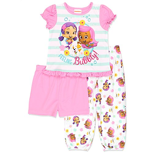 Nickelodeon Bubble Guppies Girls 3 Piece Pajamas Set (2T, Pink/White)