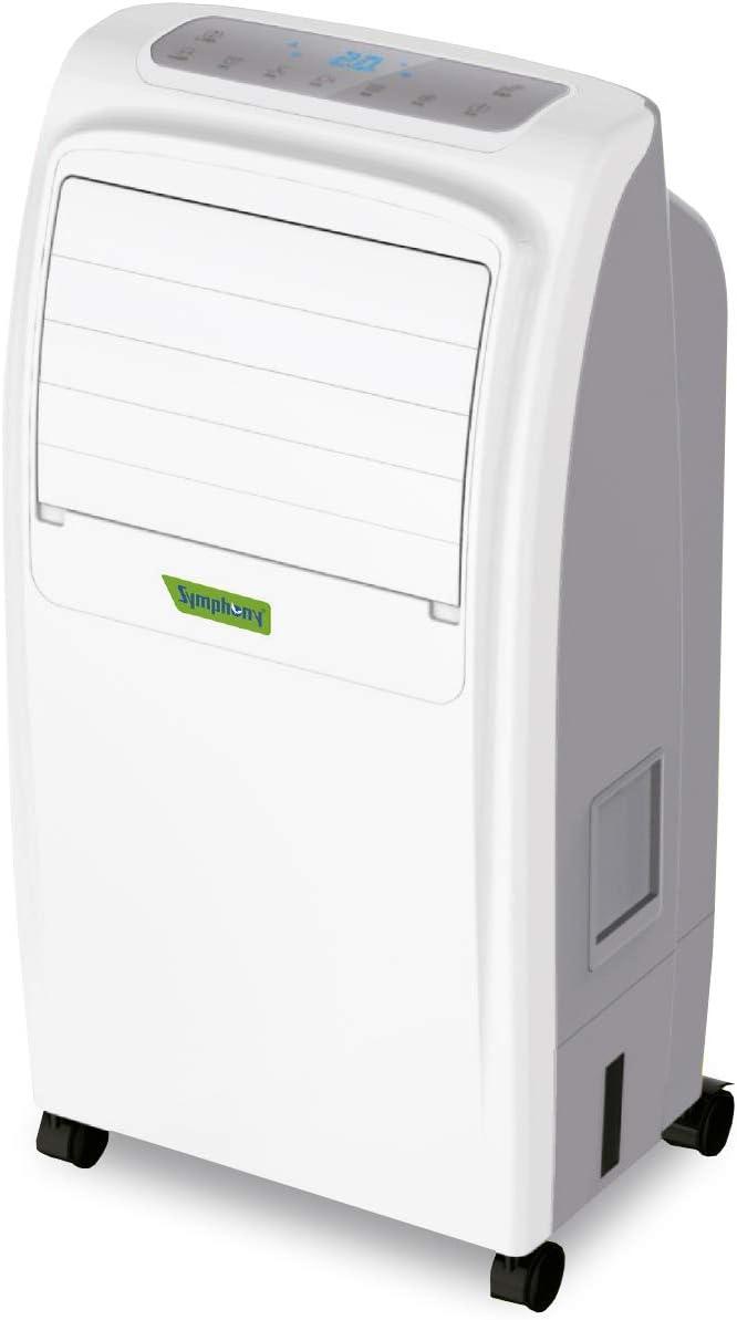 Symphony Noble Climatizador evaporativo, 2000 W, 6.5 litros, 50 Decibeles, Plástico, 3 Velocidades, Blanco y Gris
