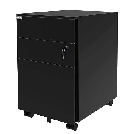 Amazon.com: aimezo acero de metal 3 cajones móviles gabinete ...