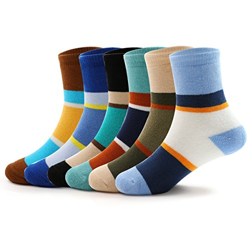 Boys Thick Cotton Socks Kids Winter Seamless Socks 6-Pack For 6T / 7T / 8T Big Kids by COCOLUNAM (Image #1)
