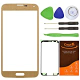 CrazyFire® Brown New Front Outer Glass Lens Screen Replacement For Samsung Galaxy S5 SV G900 G900A G900P G900R4 G900T G900V+Adhesive Tape+Tools Kit