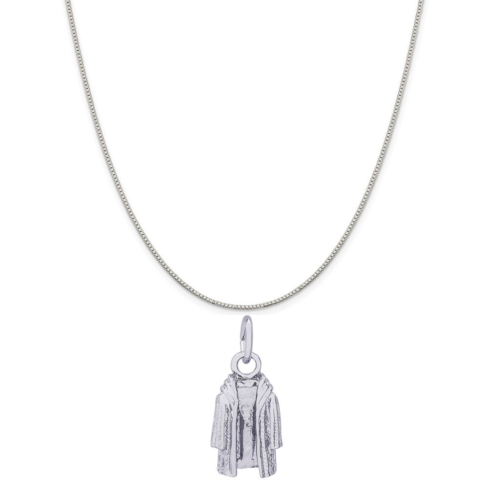 Rembrandt Charms 14K White Gold Fur Coat Charm on a 14K White Gold Box Chain Necklace, 18''