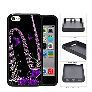 Music Notes And Purple Butterflies Rubber Silicone TPU Cell Phone Case Apple iPhone 5 5s