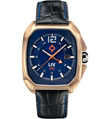 - LIV Rebel-GMT Swiss Dual Time with 24 Hour Function - Analog Display Casual Rectangular Watch for Men - 300 feet Waterproof - Limited Edition to 1,500 - Cobalt & Rose Gold