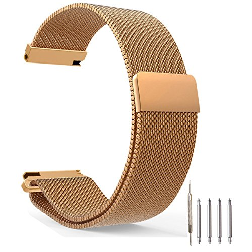 Top Plaza Fully Magnetic Closure Clasp Mesh Loop Milanese Stainless Steel Metal Replacement Band Bracelet Strap for Men's Women's Watch, Rose Gold 20MM
