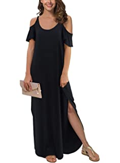 2fdc9090a17 GRECERELLE Women's Summer Casual Loose Long Dress Strapless Strap Cold  Shoulder Short Sleeve Split Maxi Dresses
