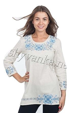 30c0aa7b16 Vyshyvanka Modern Women Ukrainian Tunic Real Embroidery. at Amazon ...