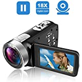 Camcorder Video Camera Full HD 24.0MP Camcorders Digital Camera 1080p 3.0'' Rotatable LCD for Vlogging Webcam Pause Function Dual LED Lights