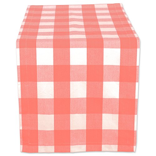 Pink Buffalo (DII Cotton Buffalo Check Table Runner for Family Dinners or Gatherings, Indoor or Outdoor Parties, & Everyday Use (14x108
