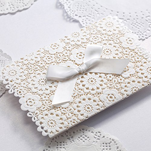 Original Wedding Invitations - VEMELKA Laser Cut Wedding Invitations Cards with Bow Set of 50pcs Invite Card for Engagement-Graduation-Bridal-Shower CW5059