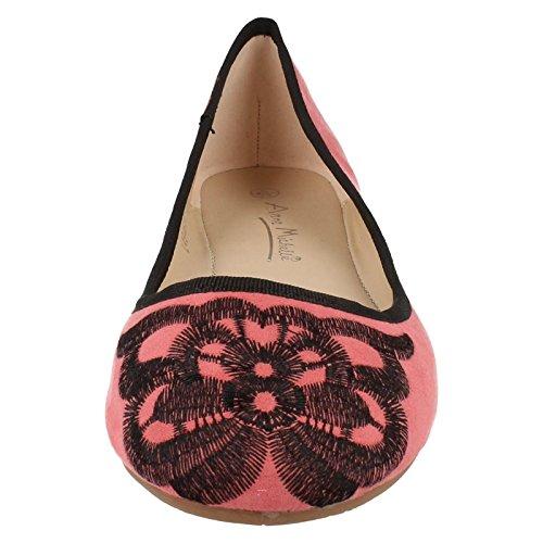 Ladies Anne Michelle Ballerina Flats L4946 Coral 9tNJUTdss