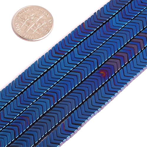 Hematite Beads for Jewelry Making Gemstone Semi Precious 7x1mm V Style Blue Metallic Coated 15