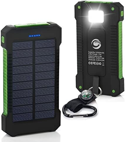 Solar Charger 10000mAh Dual USB Backup Portable Battery Charger Solar Power Bank for External Power Pack Smart Phone iPhone iPod Samsung Camera-Orange GPS, verde: Amazon.es: Deportes y aire libre