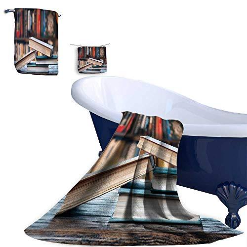 Leigh home 3 Piece Bath Towel Set,Books Shelf Bath Towels and Hand Towel and Washcloths.