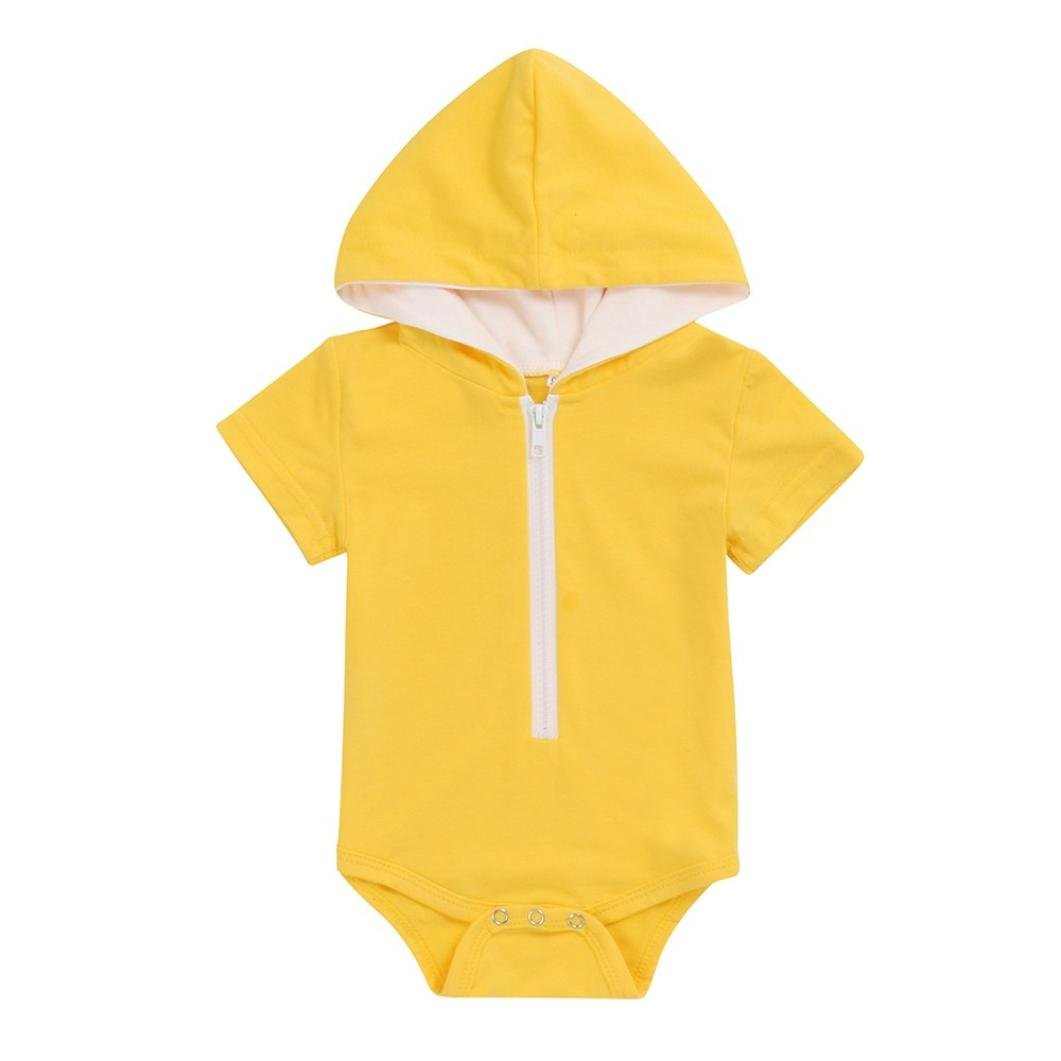 Sixcup Baby Clothing 0-24 Months, Summer Newborn Baby Boys Girls Solid Zipper Hooded Romper Jumpsuit Clothes