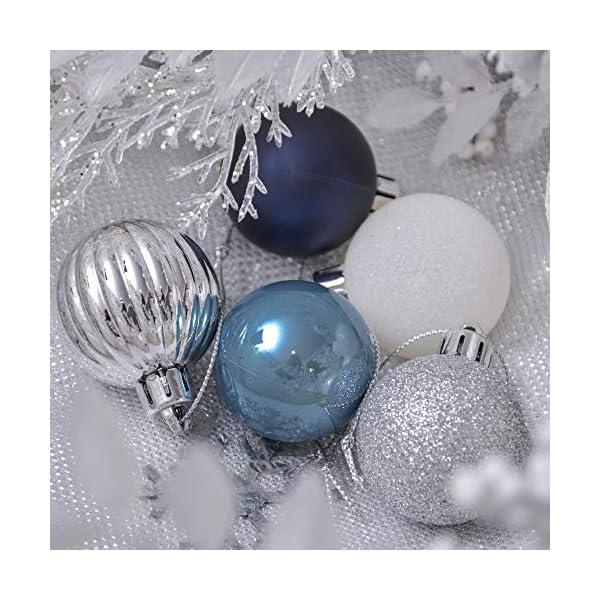 Valery Madelyn Palle di Natale 40 Pezzi 4 cm Addobbi Natalizi per Albero, Auguri Invernali Argento e Blu Ornamenti di Palla di Natale Infrangibili di Base 6 spesavip