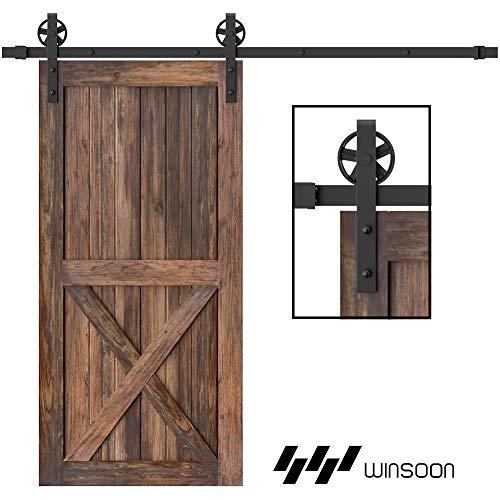 American Country Style Sliding Barn Closet Door Hardware Track Set for Single Wooden Door Type 1 6FT Barn Wood Sliding Door Hardware Set
