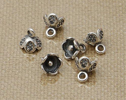 (Luoyi 10pcs Tibetan Style Thai Sterling Silver Plum Flower Pendants/ Dangles, 6.56mm (G060Z))