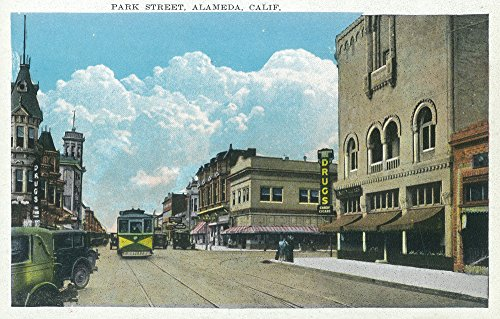(Alameda, California - View of Park Street (12x18 Art Print, Wall Decor Travel Poster))