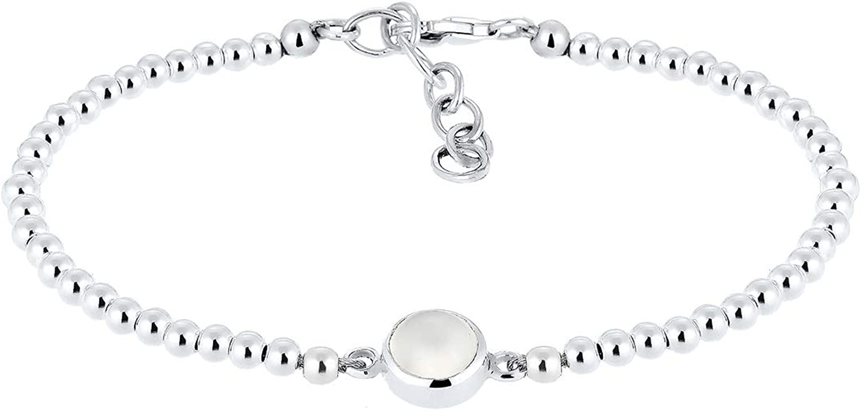 Elli Mujer Plata de ley (925/1000) plata redondo blanco piedra de luna