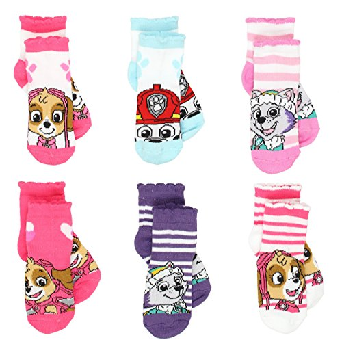Paw Patrol Little Girls 6 pack Socks (2-4 (Shoe: 4-7), Skye Pink/Multi)
